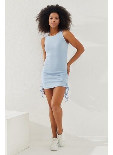 Reyon Reyon Yanları Büzgülü Sıfır Kol Mk Elbise Mavi